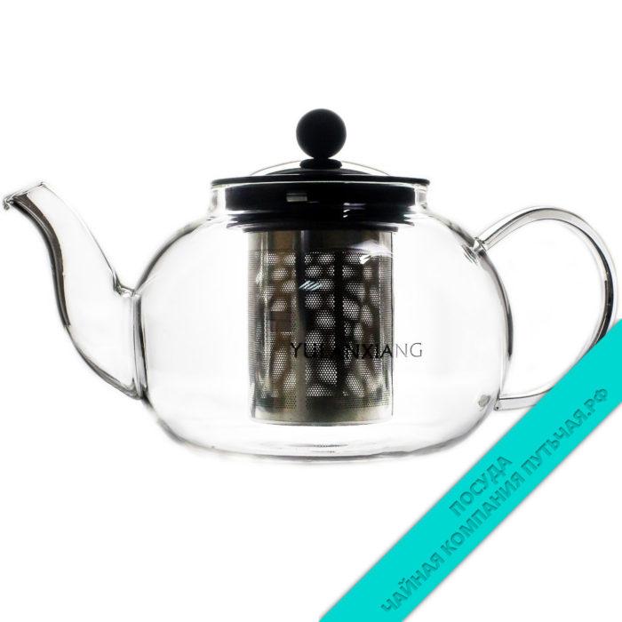 чайник с метал. крышкой 800 мл (с метал. ситом) из стекла