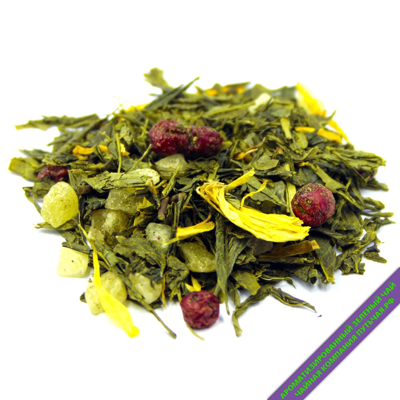 Купить зелёный ароматизированный чай с добавками Фруктовая карамель оптом и в розницу
