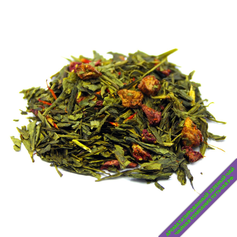 Купить ароматизированный зелёный чай с добавками Клубника со сливками оптом и в розницу