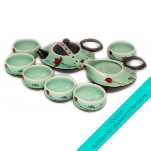 Купить Китайский чайный набор (фарфор) 8 предметов низкая цена в интернет магазине
