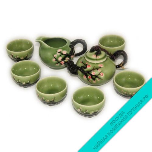 Купить Китайский чайный набор (фарфор) с не обжигающими пиалками низкая цена в интернет магазине