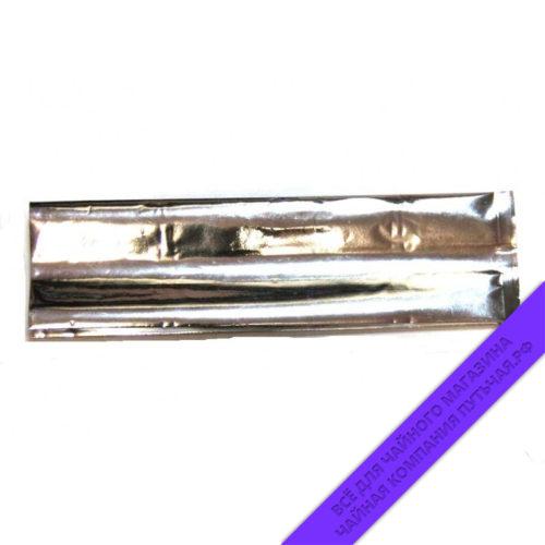 металлизированные пакеты для фасовки чая. 150г, размер 7*5,5*25 см серебр)