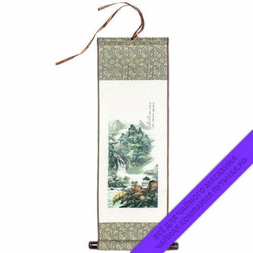 Купить среднюю шёлковую картину с пейзажем 15х45 Китай