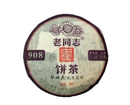 Купить настоящий китайский прессованный чай шу блин пуэр Лао Тун Джи № 908, 2008 Год Оптом и в розницу с доставкой. Фото.
